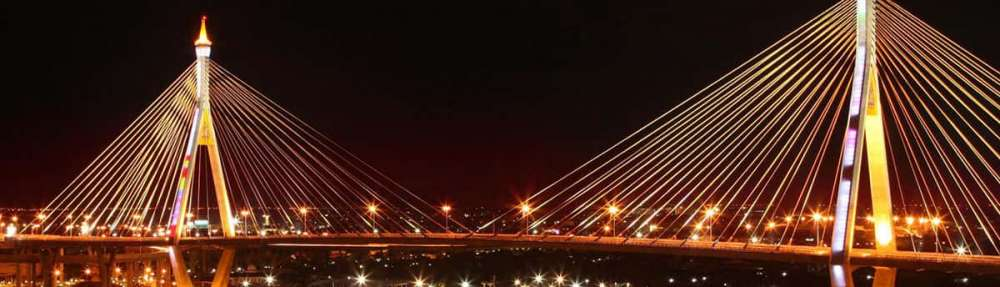 The Bhumibol Bridge in Thailand by night, also known as the Industrial Ring Road Bridge.
